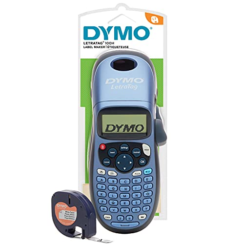 Dymo LetraTag LT-100H Beschriftungsgerät Handgerät | Tragbares Etikettendrucker mit ABC Tastatur | blau | Ideal fürs Büro oder zu Hause