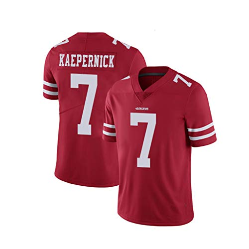 WQLESO American Football Colin Kaepernick Jersey, Herren Rugby San Francisco 49ers # 7, Sport Stickerei T-Shirt Fans Must,Red-XXL