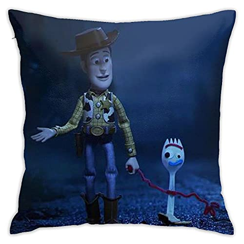 Xbkbhsm Fundas de Cojines Toy Story Cartoon Anime Funda de Almohada Cojín Cuadrado Decorativo con Cremallera para Sofá de Dormitorio (18x18 Pulgadas / 45x45Cm)