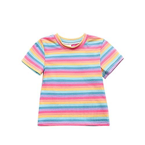 YWLINK Camiseta Casual De AlgodóN De Manga Corta A Rayas con ArcoíRis para NiñAs Ropa Bebe NiñA Verano Fossen Cuello Redondo Rayas Multicolores Tops Baratos para 0-4 Añ