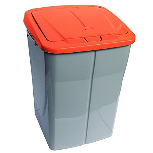 mondex Consumo PLS 8087 19 Roll Top Cubo de Basura de Reciclaje de Cocina con Tapa de plástico 36 x 36,5 x 51 cm, 45 L, plástico, Naranja, 45 L