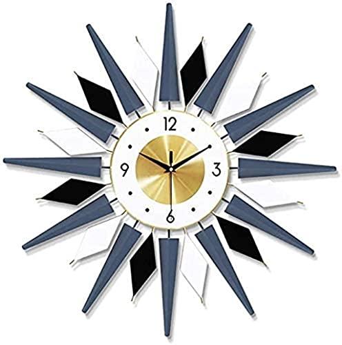 reloj de pared Big Fancy Metal Wall Relojes silencioso barrido grande reloj de pared para la sala de estar de la casa Cocina Dormitorio Decoración Reloj Decoraciones para el hogar ( Color : Blue )