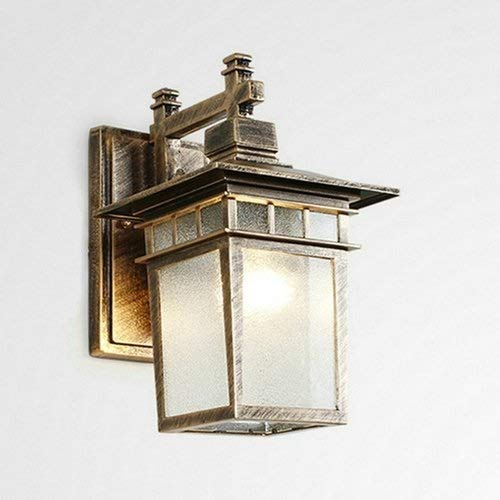 HYYK Square Glass Landscape Outdoor Lighting Fixture Outdoor Antirust Courtyard Wall Lantern Garden American Aluminium Gate E27 Wall Lamp Sconce Waterproof European Outdoor Wall Light