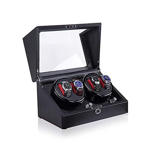 ZHANGYH Caja de reloj mecánica automática, 5 modos de rotación con motor silencioso, acabado de piano de fibra de carbono, carcasa de madera, caja de almacenamiento para reloj (color: A05