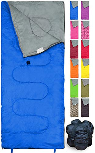 Lightweight Blue Sleeping Bag by RevalCamp. Indoor & Outdoor use. Great for Kids, Youth & Adults. Ultralight and Compact Bags are Perfect for Hiking, Backpacking, Camping & Travel.