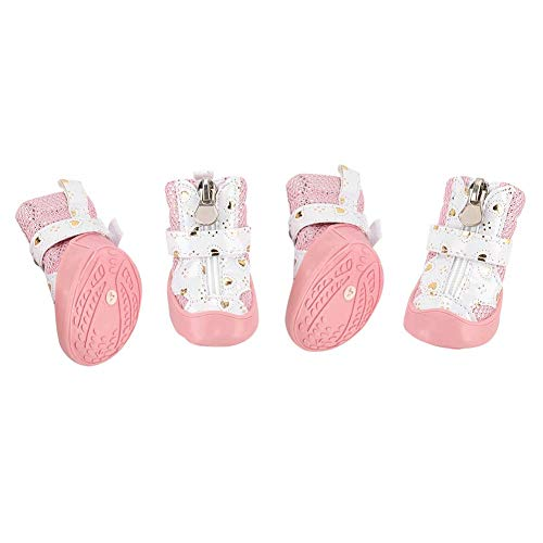 Huisdierschoenen, mesh ademende antislip puppyschoenen, superzacht polyester roze en duurzaam, geschikt voor wandelen…
