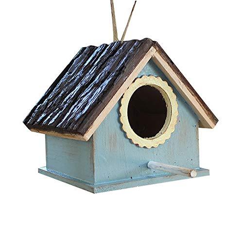 GFDE Pajarera 2pcs Colgante de Madera de pie Birdhouse de Almacenamiento de Alimentos Caja de alimentación en Forma de V Techo Nido de Pájaro Adorno de jardín (Color : A, Size : Free Size)