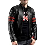 Mia Fashion Leather Retail Black Color Designer Faux Leather Biker Jacket for Man (XL, Red,Black)