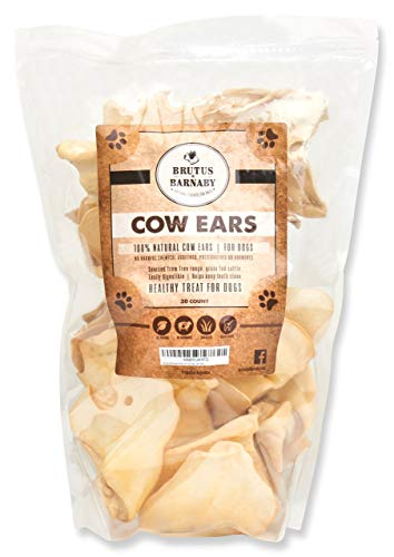 BRUTUS & BARNABY Cow Ears for Dogs, All Natural Whole Ears, No Added Hormone's, Grass Fed Cattle, (30)