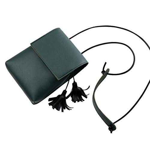 Bolso de hombro de cuero PU con decoración de borlas para mujer, bolso pequeño con solapa, bolso de cubo de color sólido para fiesta al aire libre, bolso bandolera, verde oscuro BCVBFGCXVB