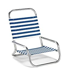 in budget affordable Telescopic casual sun and sand deckchair, blue / white stripes (73313601)