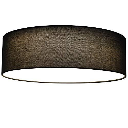 Navaris LED Deckenleuchte rund mit Stoffbezug - 22 Watt 970 Lumen - 41,5x41,2x14,5cm - Stoff Deckenlampe Dunkelgrau mit Montagematerial - warmweiß
