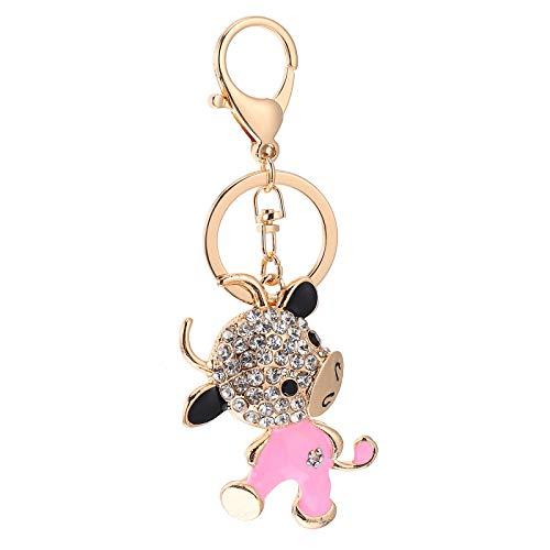 Amosfun Llavero con incrustaciones de diamantes de imitación adorable becerro colgante de adorno bolsa colgante suministros de fiesta