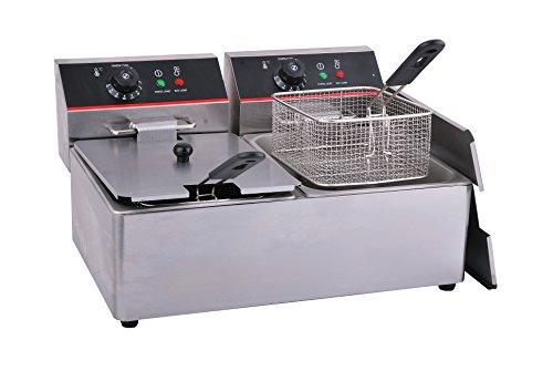 Hakka Commercial Stainless Steel Deep Fryers Electric Professional Restaurant Grade Turkey Fryers (8 Liter x2)