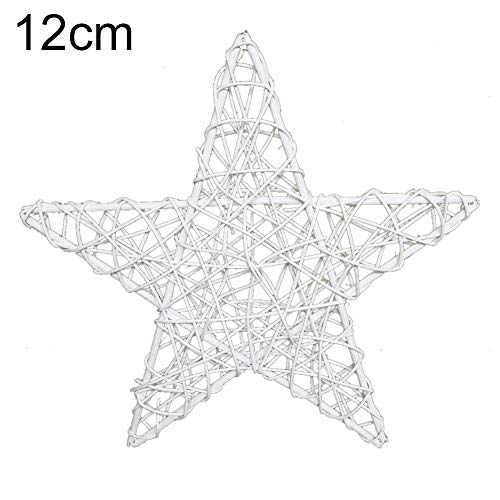 Christmas Rattan Five-pointed Star Indonesian Rattan Natural Tree Top Star, Rattan Five-pointed Star is Used for Christmas Tree Decoration and Festive Garland Seasonal Decoration Star Hat- 12cm