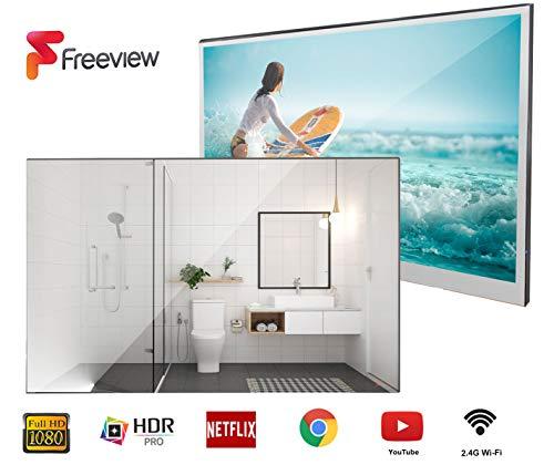 Televisor Soulaca Smart Mirror Baño TV 21.5 Pulgadas IP66 a Prueba de Agua con Pantalla táctil, Wi-Fi, Altavoces Integrados