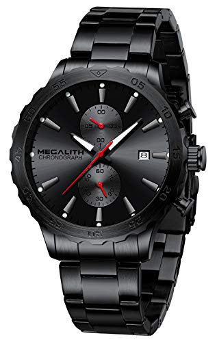 MEGALITH Herrenuhr Schwarz Militär Uhr Chronographen Herren Armbanduhr Edelstahl Wasserdicht Uhren fur Männer Groß Analog Design Datum Leuchtend - Rot Zeiger