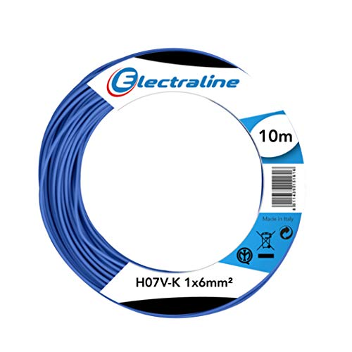 Electraline 15301 Cavo Unipolare N07V-K, Sezione 1x6 mm, 10 mt, Blu