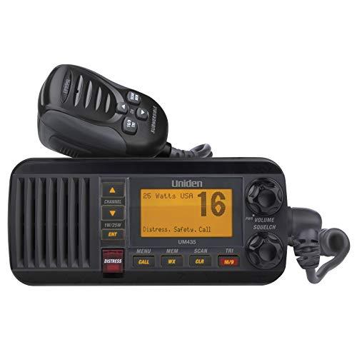 "Uniden UM435BK Advanced Fixed Mount VHF Marine Radio, All USA/International/Canadian Marine Channels including new 4-Digit, CDN ""B"" Channels, 1 Watt/25 Watt Power, Waterproof IPX8 Submersible, Black"