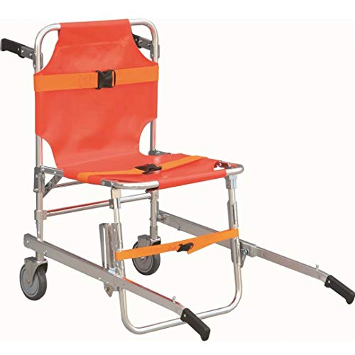 Stair Chair - Aluminum Light Weight Ambulance Firefighter Evacuation Medical Lift Stair Chair with Quick Release Buckles,Orange