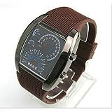 Orologio da polso da uomo, con LED blu e bianco, riproduce il contachilometri...
