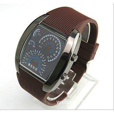 Orologio da polso da uomo, con LED blu e bianco, riproduce il contachilometri delle auto sportive, Brown