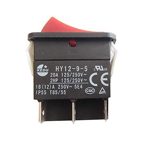KEDU HY12-9-5 6 Pins 125/250V 20A Ein Aus Ein Drucktastenschalter Industrial Electric Tool Drucktaster Wippschalter 2-Pack