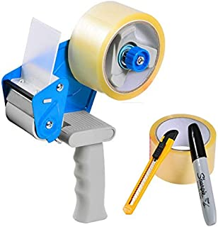 """Packing Tape Gun Dispenser with 2 Rolls 2"""" x 165' Clear Tape, Utility Knife, Premium Marker"""