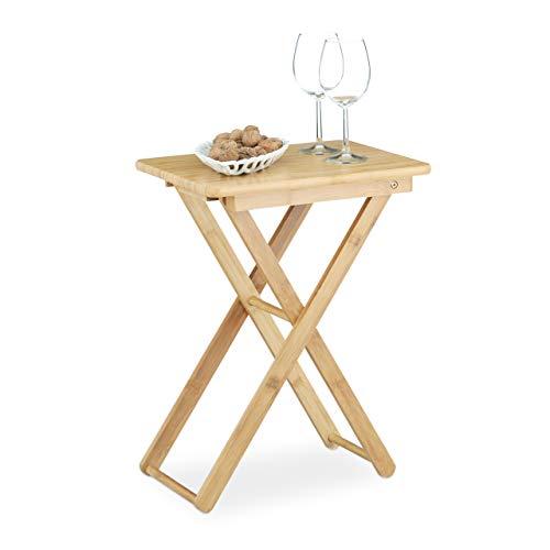 Relaxdays Beistelltisch klappbar, Bambus Holz, Klapptisch klein, rechteckig, HBT: ca. 52 x 40 x 31 cm, natur
