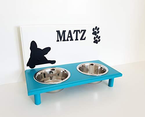 Jennys Tiershop Futterbar. Gestalten mit Wunschnamen. Napfbar für Französische Bulldogge. Hundenapf. Futterbar Hunde in weiß/türkis 2 x 750 ml Hundebar (7g4)