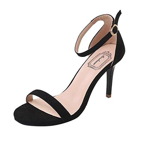 Juleya Damen Sandaletten High Heels Sandalen Stiletto Schuhe Frühling Sommer Damenschuhe Riemchen Sandalen Party Abendschuhe Absatzschuhe Schnallen Pumps 9cm Offene Schuhe Schwarz 39