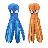 JINYJIA Plush Dog <span class='highlight'>Toy</span>s, Octopus No Stuffing Dog Chew <span class='highlight'>Toy</span> Set, Sound Paper and Squeaky, for Puppy and Medium Dogs - (2 Pack, 32cm)