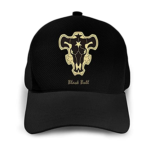 Black Bull Black Clover Insignia Hat with Ultrafibre Fitted Adjustable Breathable Anime Baseball Cap for Outdoor Sports