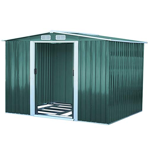 The Fellie Garden Shed 8ft x 8ft Green Garden Metal Storage Pent Shed Galvanized with Sliding Door and Ventilation