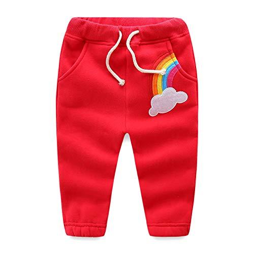 Calça de jogging feminina Mud Kingdom com arco-íris e fleece, Vermelho, 3T