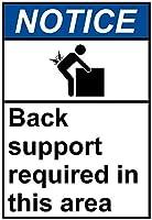 注意サイン-このエリアではバックサポートが必要です。通知のためのインチ通りの交通危険屋外の防水および防錆の金属錫の印