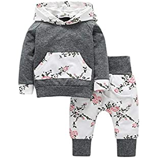 Toddler Infant Baby Boys Girls Clothes Set Floral Hoodie Tops+Pants 2pcs Outfits (Gray, 90):Btc4you