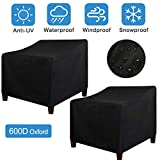 LadyRosian Patio Chair Covers, Lounge Deep Seat Cover, 600D Oxford 100% Waterproof Durable Heavy Duty Outdoor UV All Weather Protection Furniture Chair Covers (35' x 38' x 31', 2 Pack, Black)