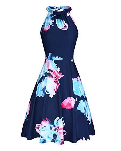OUGES Women's Halter Neck Floral Summer Casual Sundress(Floral-3,M)