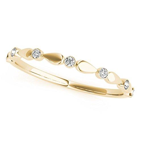 1/10CT Round Diamond Wedding Band Bezel Set in 14K Solid Yellow Gold (H-I, I1-I2) (6.5) (0.1 Ct Diamond Bezel)
