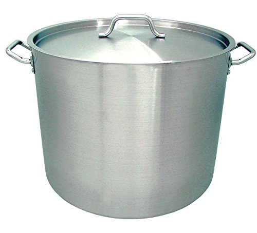 Update International w Induction Ready Stock Pot with Cover, 100-Quart, Silver