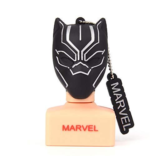 Clé USB Pen Drive Flash USB 2.0 Dessin animé Marvel Black Panther Deadpool Spiderman série U-Disque créatif clé chaîne Portable Haute Vitesse Transmission de données (32GB,Black Panther)
