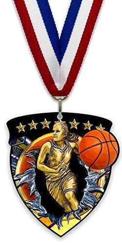 Medalla/Imán Grande de Metal - Baloncesto Femenino - Fabricadas de Acero Acabado en Negro - con Cinta Incluida a Elegir y Reverso Recubierto por un Potente Imán. (Rojo-Blanco-Azul)