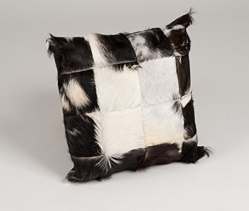 Amaris Elements   'Claudio' Modernes Fell-Kissen aus echtem Ziegenfell - weißes Leder und Naturfarben 40x40 cm