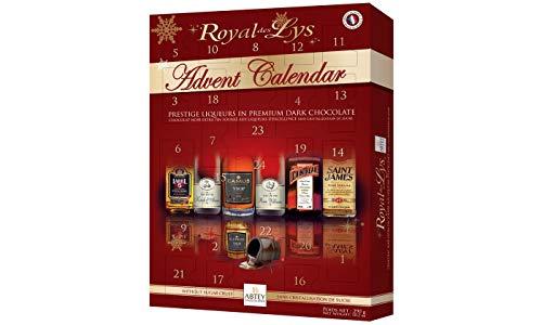 Abtey Chocolatier Royal des Lys Prestige Liköre in Premium dunkler Schokolade 24 Tage Adventskalender, rot, 290 g