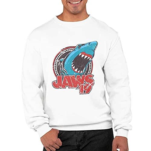CHEMAGLIETTE! Jaws 19 - Sudadera de cuello redondo para hombre, de algodón, para el deporte y el tiempo libre, con divertido diseño, Color blanco., S