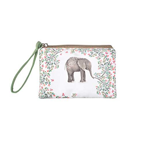 Rantanto Cute Classic Exquisite Canvas Cash Coin Purse, Make Up Bag, Cellphone bag With Handle (BG0001 Flower Elephant)