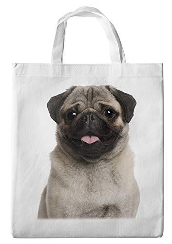 Merchandise for Fans Einkaufstasche- 38x42cm, 8 Liter - Motiv: Mops Porträt [ 07 ]