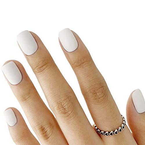Wangguifu 24 Pcs Nouvelle Vente Chaude Courte Couverture Complète Tête Plate Faux Ongles Fini Manucure Monochrome Fée Gommage Blanc Presse