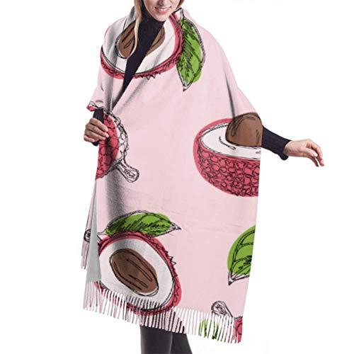 Irener Wickeldecke Schal, Womens Winter Scarf Cashmere Feel Lychee Fruit Graphic Color Pattern Scarves Stylish Shawl Wraps Soft Warm Blanket Scarves For Women